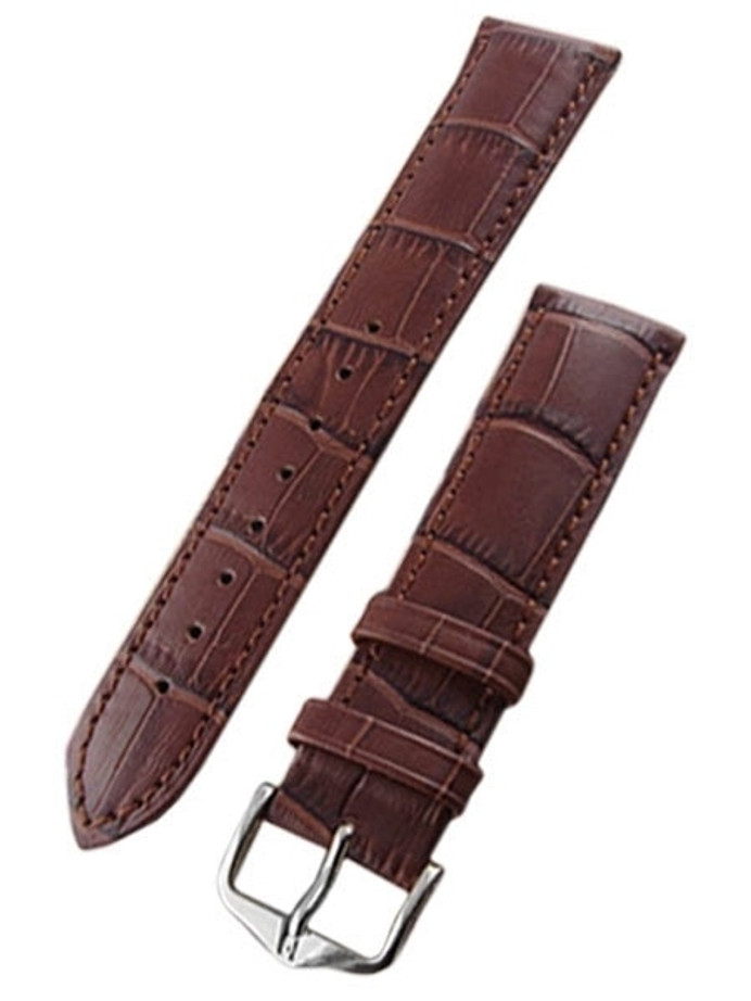 Hirsch Duke Brown Alligator Embossed Natural Leather Watch Strap #010280-10