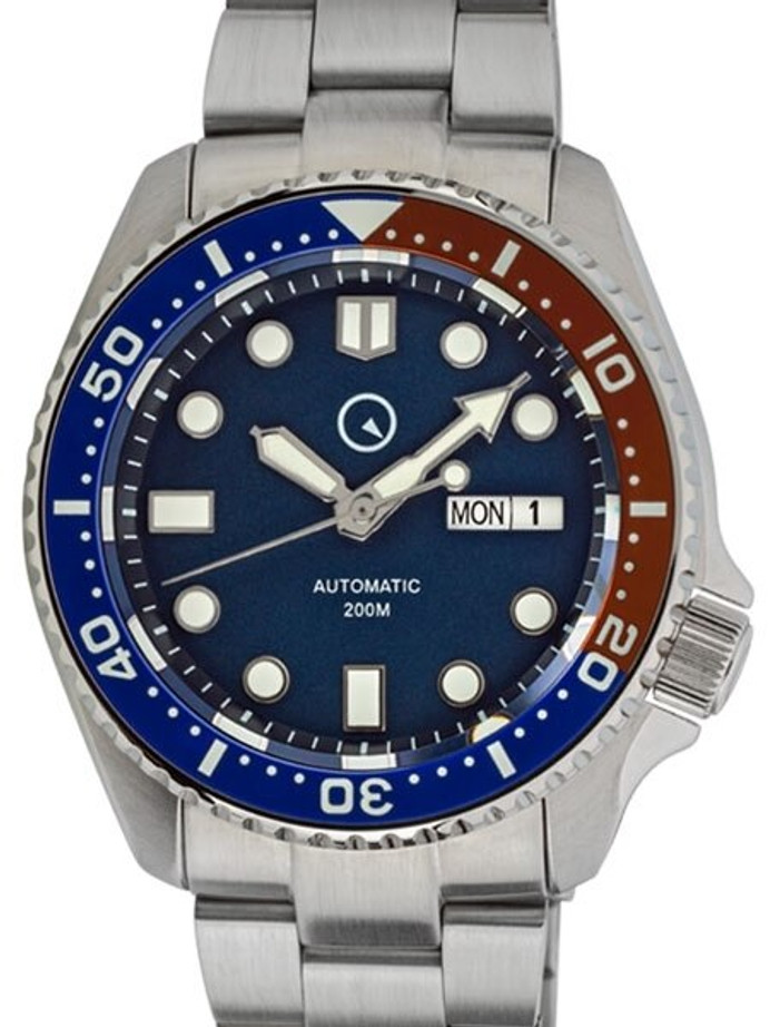 Islander Automatic Dive Watch with Solid-Link Bracelet, AR Sapphire Crystal, and Luminous Ceramic Bezel Insert #ISL-03