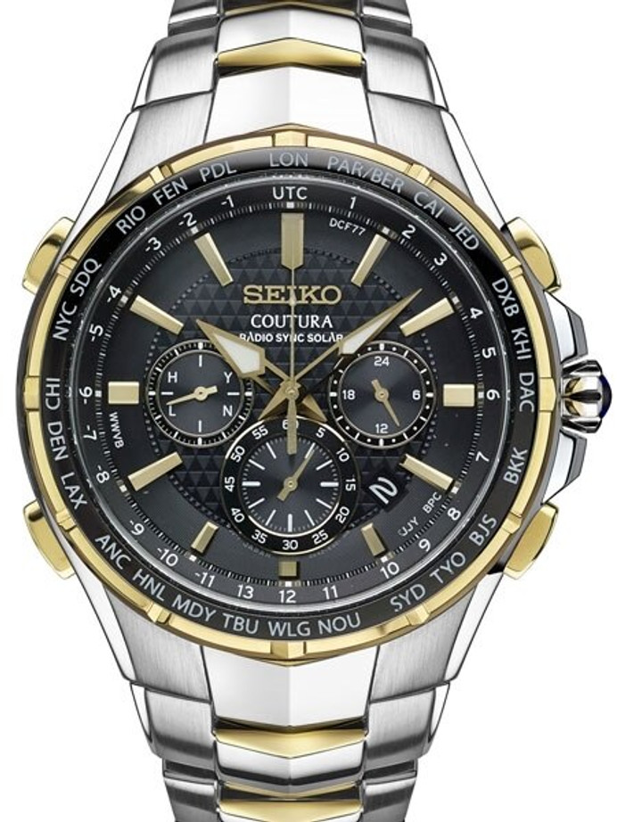 Seiko Coutura Radio Sync Solar Chronograph Two-Tone Mens Watch #SSG010