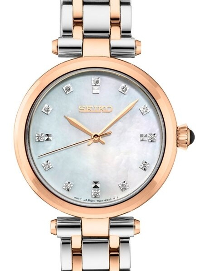 Seiko Ladies Quartz Dress Watch with with 12 Diamond Hour Markers, Mother of Pearl Dial #SRZ534
