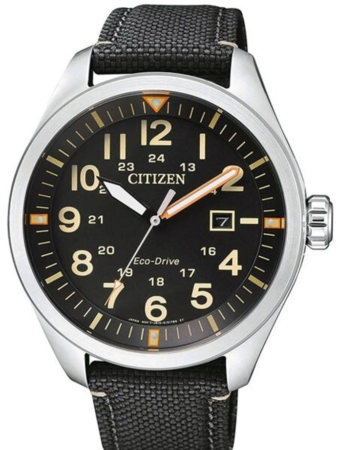 Citizen Military Watch Eco-Drive Black Dial with Black Nylon Strap #AW5000-24E