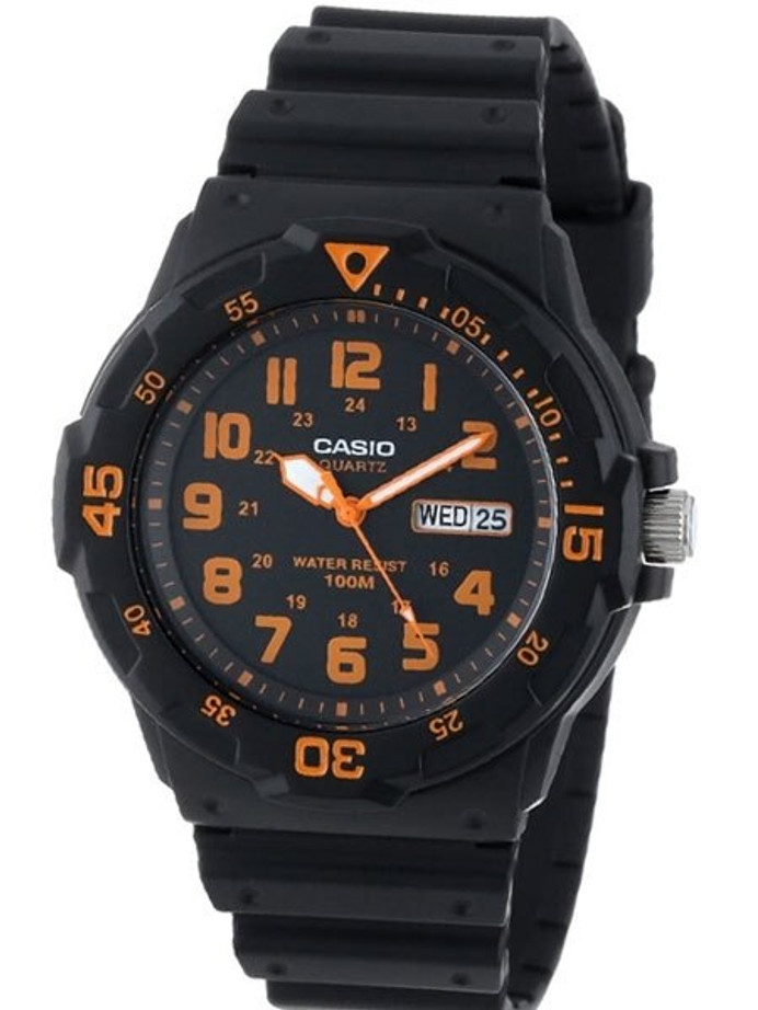 Scratch and Dent - Casio Black Resin Quartz Analog Diver-Style Watch with Rotating Bezel #MRW-200H-4B
