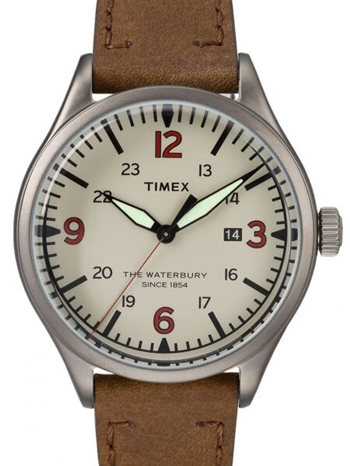 Timex 40mm Waterbury Quartz Watch with Cream Dial and INDIGLO Night-Light #TW2R38600VQ