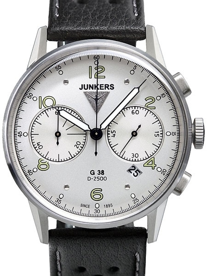 Junkers G38 Silver Dial, Quartz Chronograph with 60-Minute Timer #6984-1