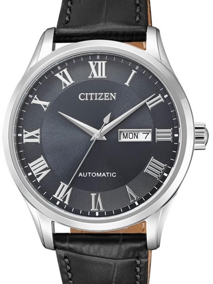 Citizen Automatic Grey Dial Watch with Grey Leather Strap #NH8360-12H