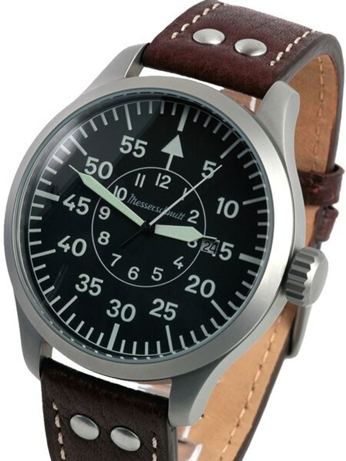 Messerschmitt 47mm Fliegeruhr Watch with Aviator Leather Strap #ME-47XL