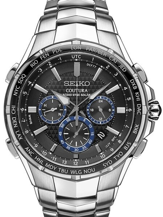 Seiko Coutura Radio Sync, Solar Powered, Chronograph, World Time Watch with Sapphire Crystal #SSG009