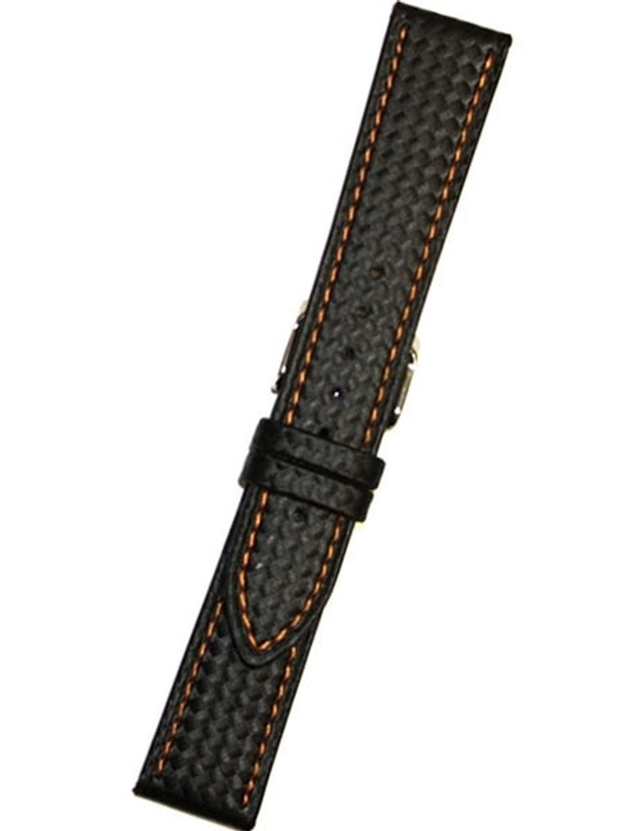 Black Carbon Fiber Style with Heavy Padding, Orange Contrast Stitching #EBV-WS-OR
