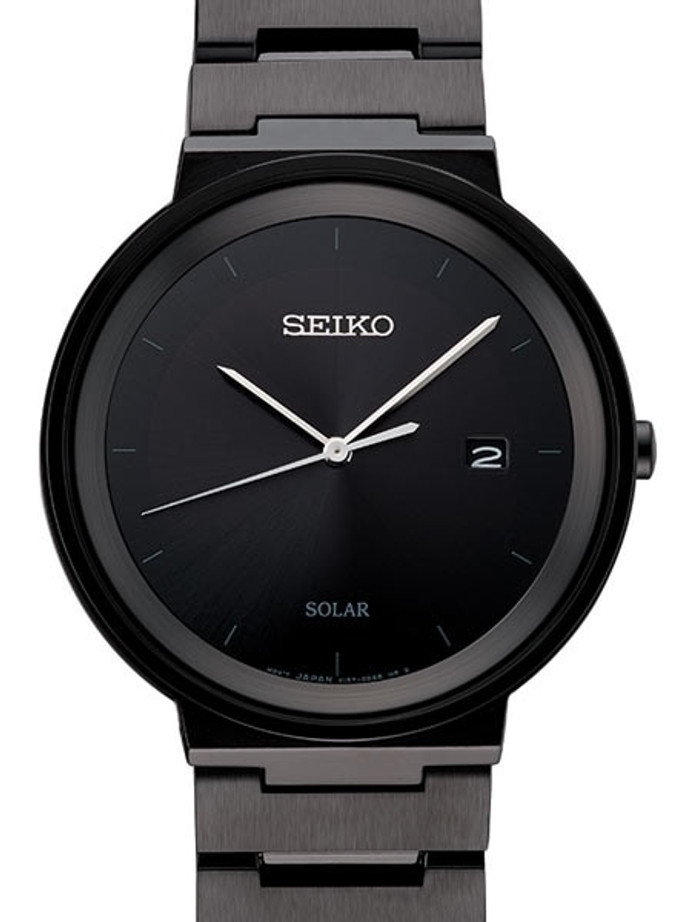 Seiko Sleek Solar Watch with 40mm Black Ion Stainless Steel Case #SNE481