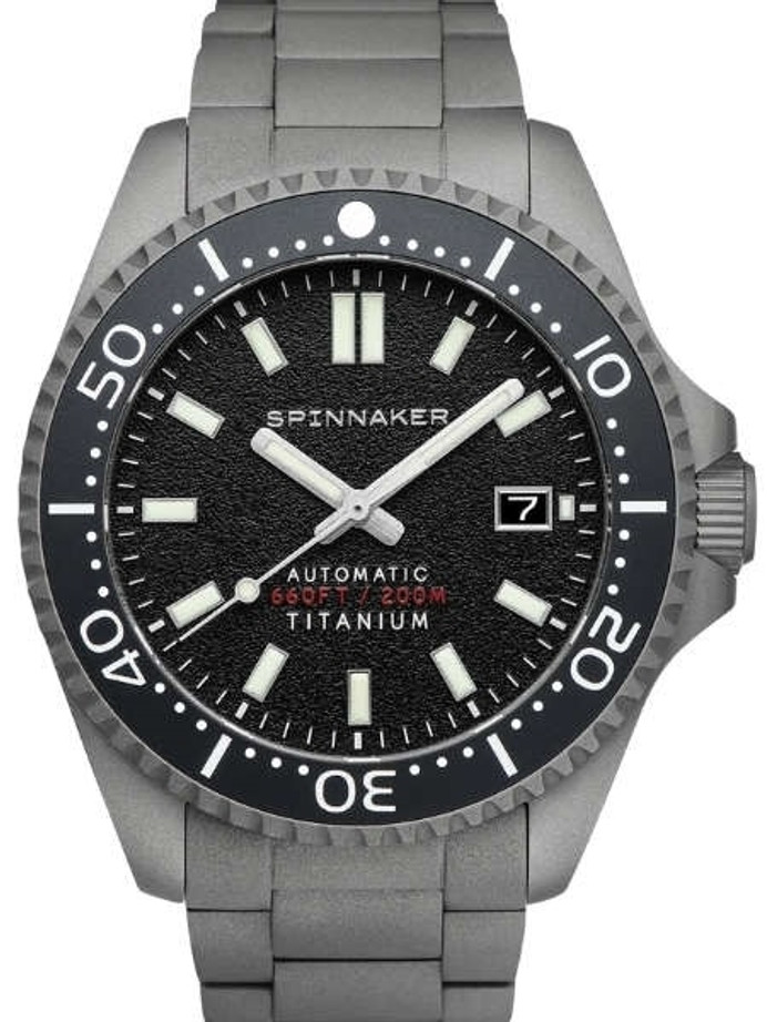 Spinnaker Tesei Titanium Automatic 200 Meter Dive Watch With Black Dial SP-5084-11