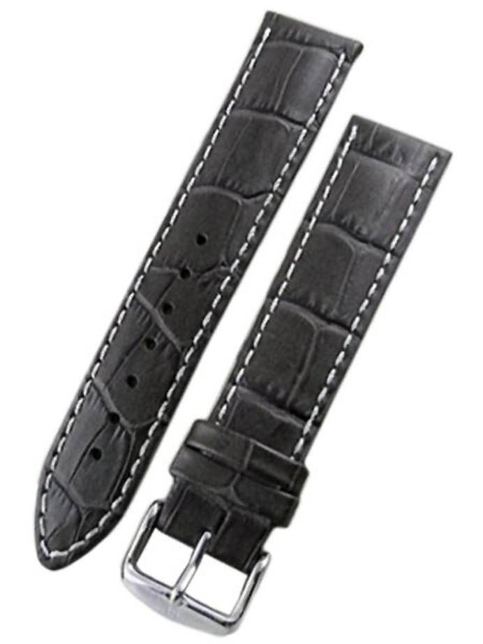 Hirsch Modena Black Alligator Embossed Leather Watch Strap #103028-50