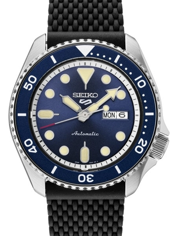 Seiko 5 Sports 24-Jewel Automatic Watch with Blue Dial and Silicone Strap #SRPD93