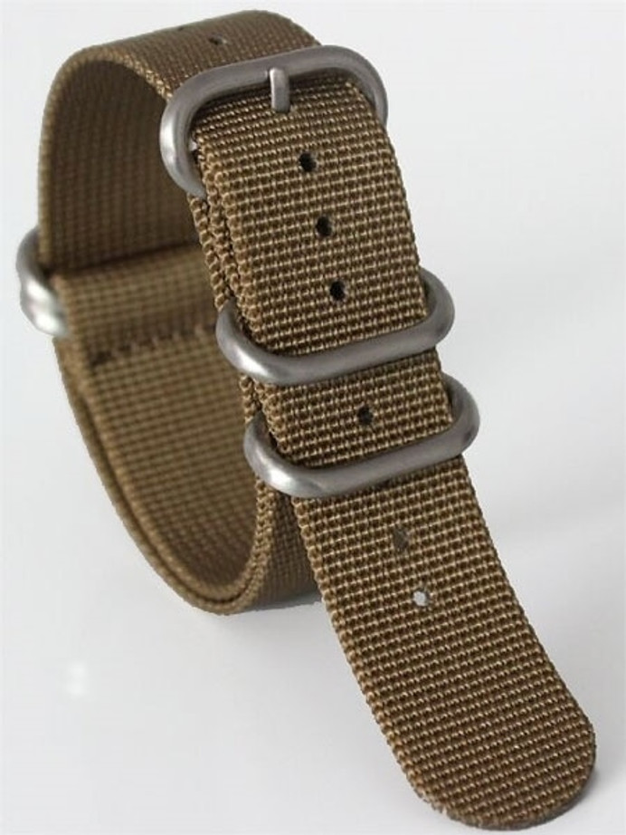 5-Ring NATO-Style Sand Nylon Strap with Matte Finish Steel Buckle #NATO5R-20-SS