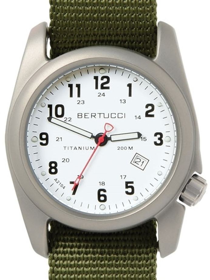 Bertucci A-2T White Dial Titanium Watch with Olive Nylon Strap #12121