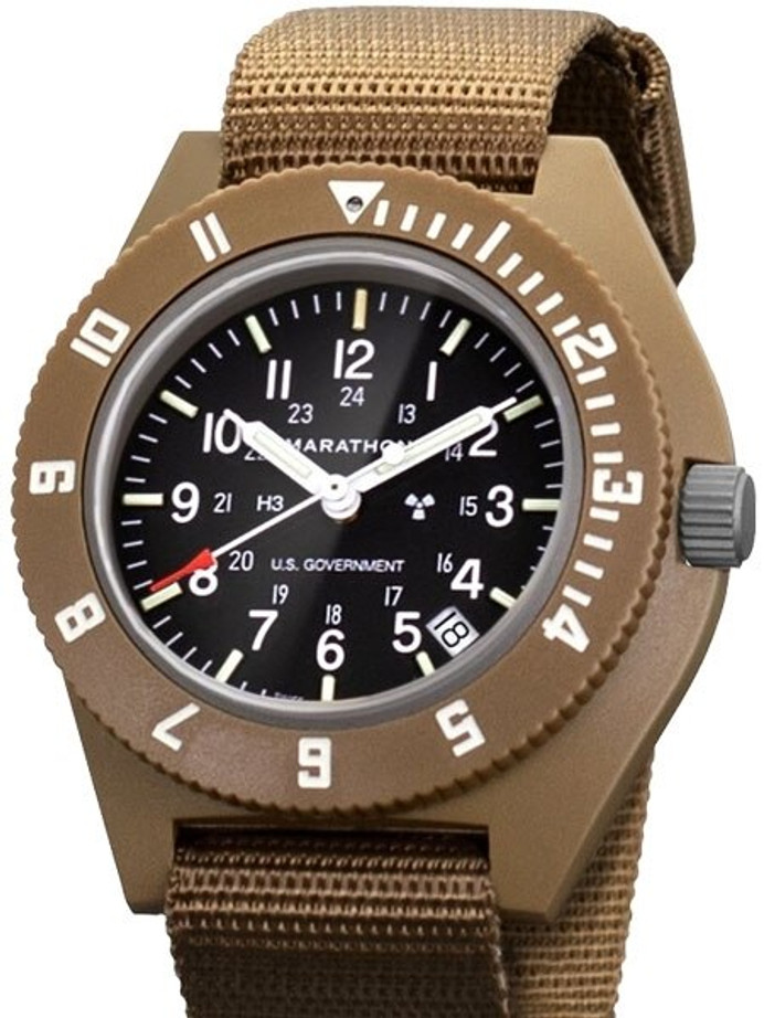Marathon Swiss Made Quartz Military Navigator Watch with Tritium Illumination #WW194013DT