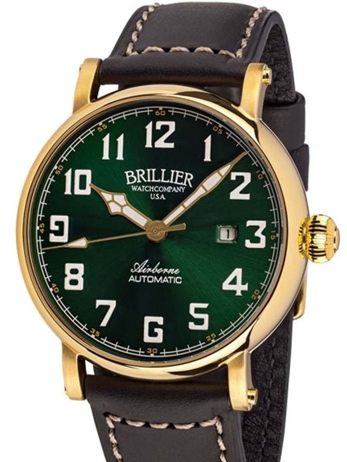 Brillier Green 43mm Airborne Automatic Watch with Horween Leather Strap #BR-16