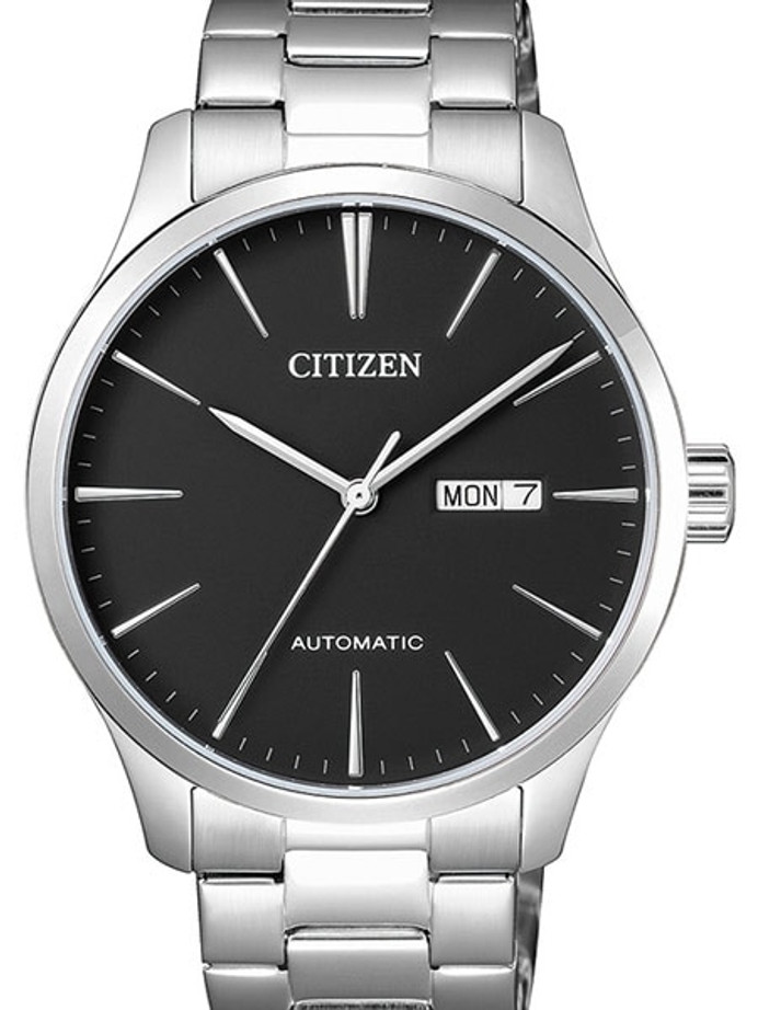 Citizen Automatic Black Dial Watch with Stainless Steel Bracelet #NH8350-83E