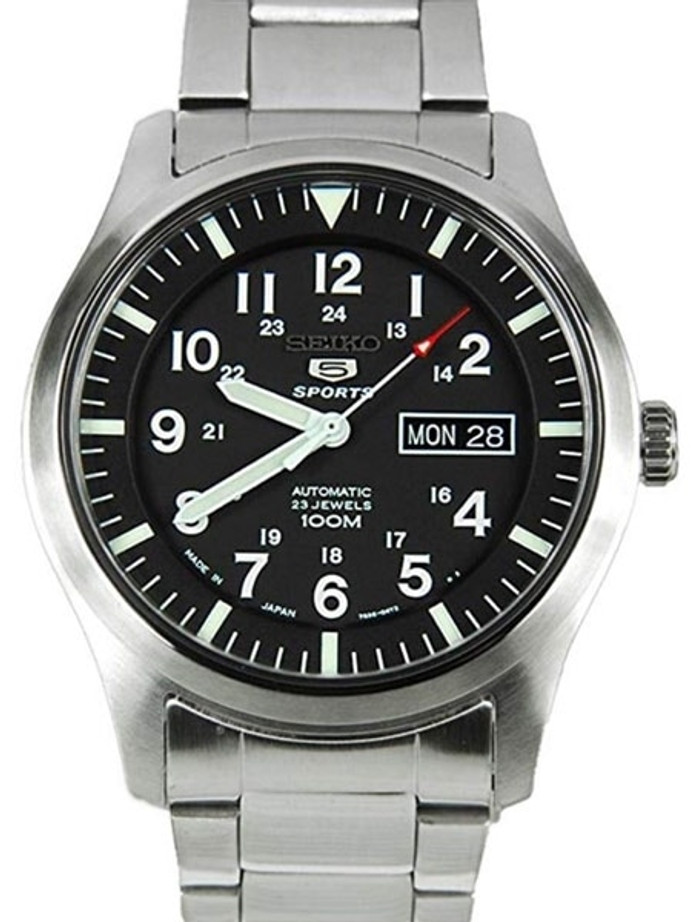 Seiko Military Black Dial Automatic Watch with 42mm Case, and SS Bracelet  #SNZG13J1