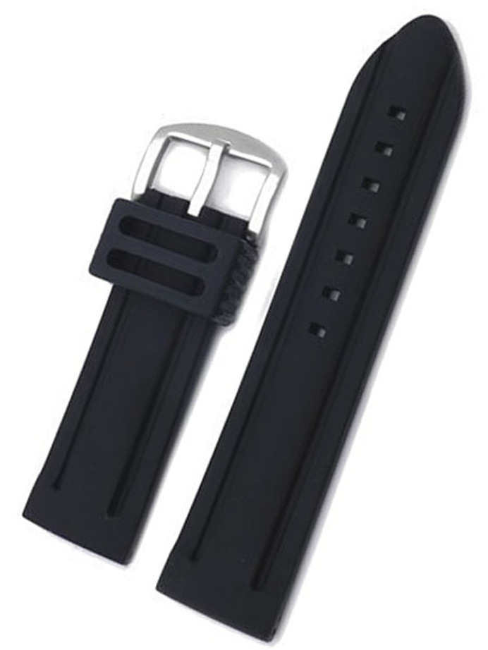 Black Silicone Rubber, 5mm Thick, Heavy Buckle 2 Line Design #RUB-9-30