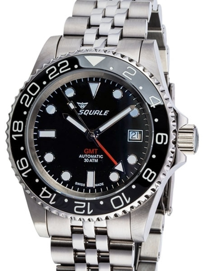 Squale 300 meter Swiss Automatic GMT watch with Luminous Ceramic Bezel, AR Sapphire Crystal #1545GM-CER-BK