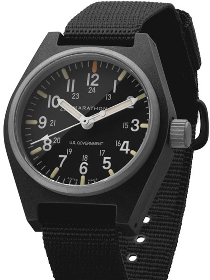 Marathon Swiss Made Quartz Military General Purpose Watch with MaraGlo Green Illumination #WW194009-BK