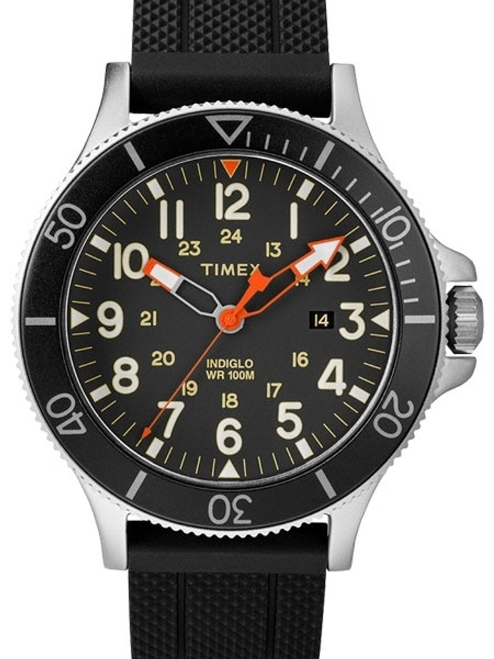 Timex 43mm Allied Coastline Quartz Watch with Black Dial and INDIGLO Night-Light #TW2R60600VQ