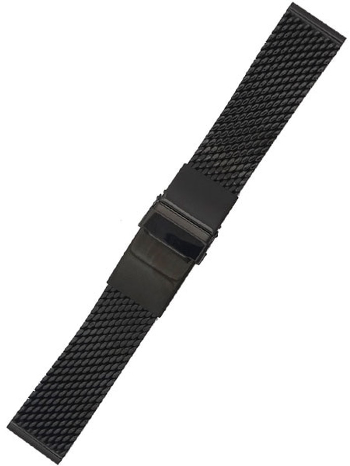 STAIB Polished Black IP Mesh Bracelet #Steel-2784-20752APL (Long), (Straight End, 20mm)