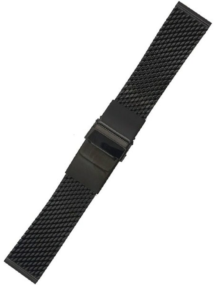 STAIB Polished Black IP Mesh Bracelet #Steel-2784-20752APL (Long), (Straight End, 20mm)