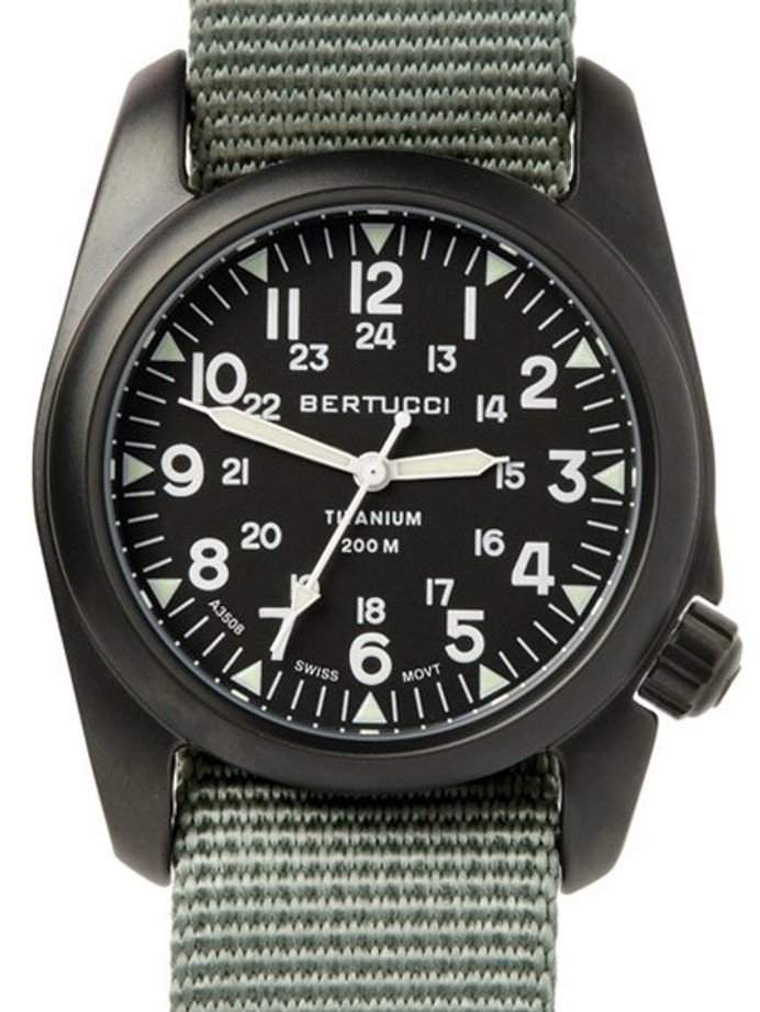 Bertucci A-2T Vintage Black Titanium Watch with Olive Drab Nylon Strap #12028