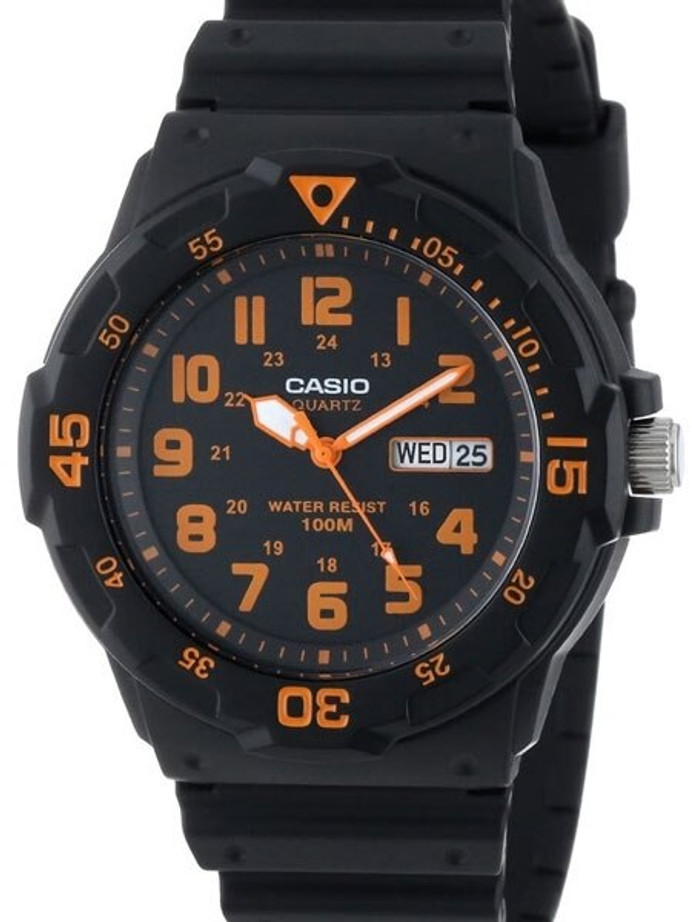 Casio Black Resin Quartz Analog Diver-Style Watch with Rotating Bezel #MRW-200H-4B