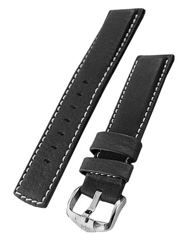 Hirsch Mariner Water Resistant Black Leather Watch Strap #145021-50