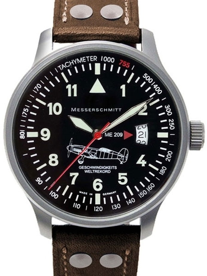 Messerschmitt Fliegeruhr Watch with Aviator Leather Strap #ME-209