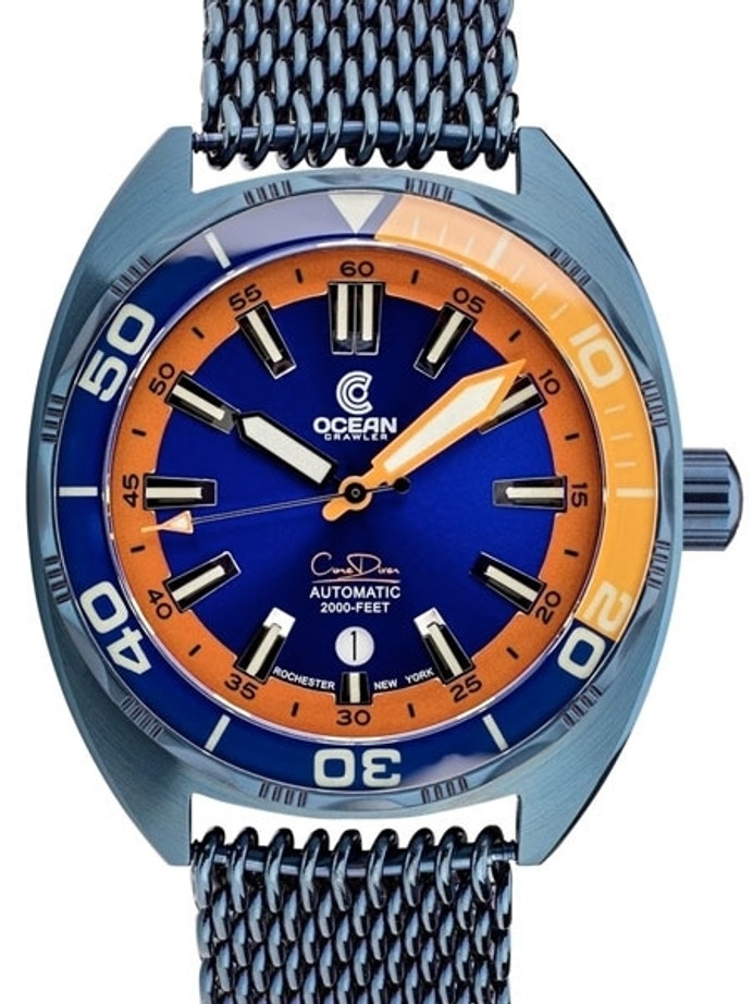 Ocean Crawler 600-Meter Core Swiss Automatic Dive Watch, with Luminous Sapphire Bezel Insert #1292