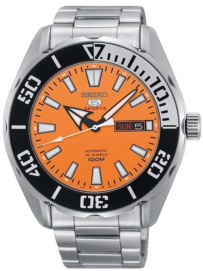 Seiko 5 Sports Automatic 24-Jewel Watch with Orange Dial and SS Bracelet #SRPC55K1