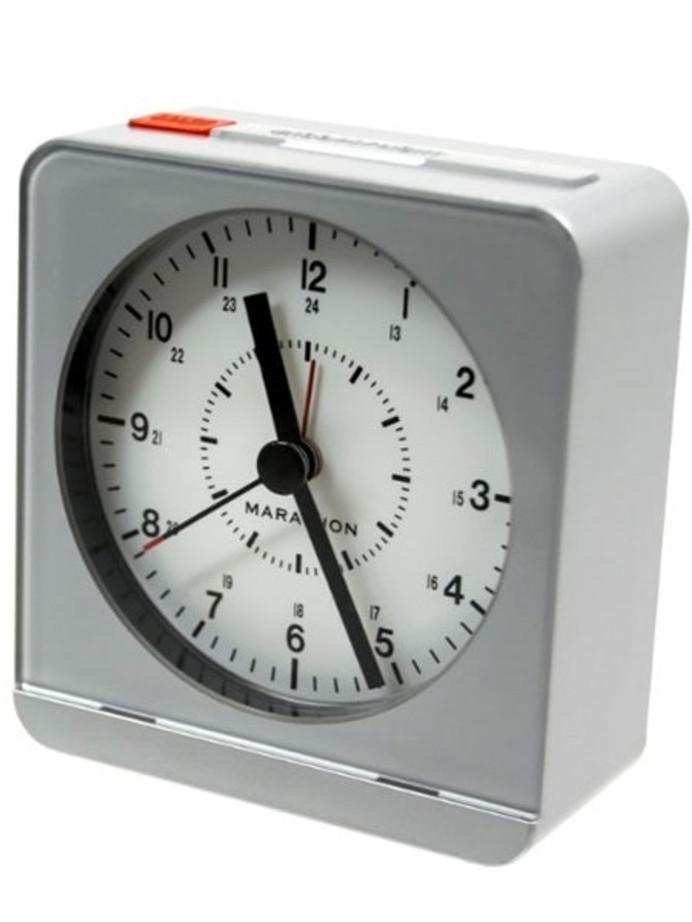 Marathon Alarm Clock with White Dial, Silent Movement, and Auto-Sensing Night Light #CL030053SV