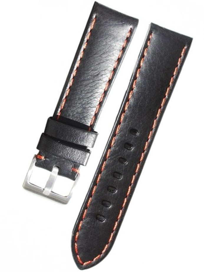 Toscana PANERAI Style Black Italian Leather Strap with Orange Contrasting Stitching #LBV-98230-54