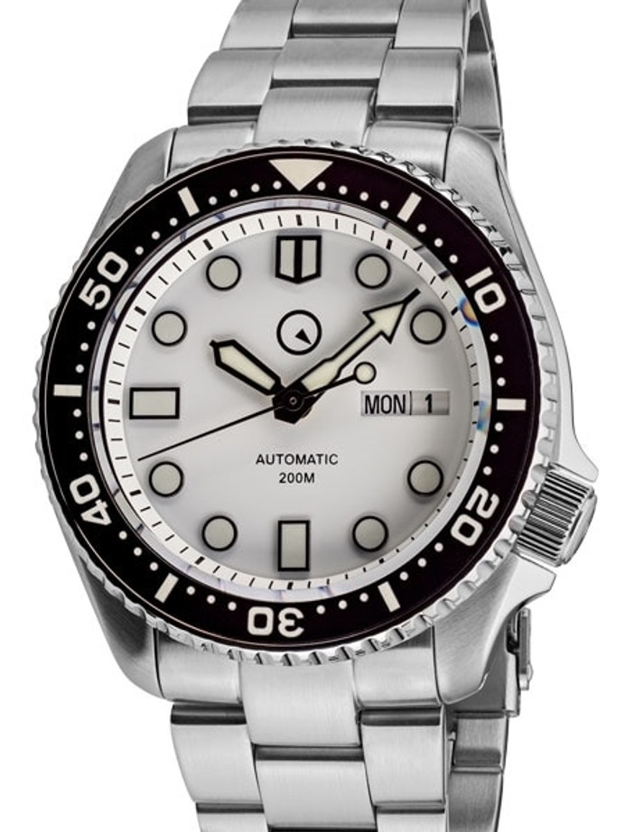 Islander White Dial Automatic Dive Watch with Solid-Link Bracelet, AR Sapphire Crystal, and Luminous Ceramic Bezel Insert #ISL-35