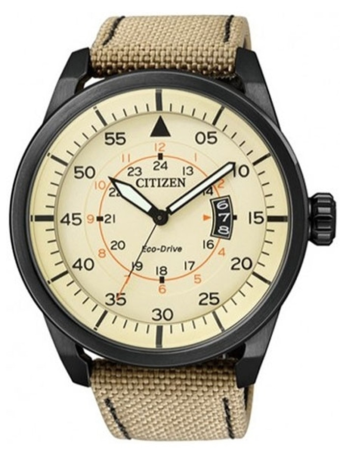 Citizen Eco-Drive Dial Pilot Watch with Black PVD Case and Tan Strap #AW1365-19P