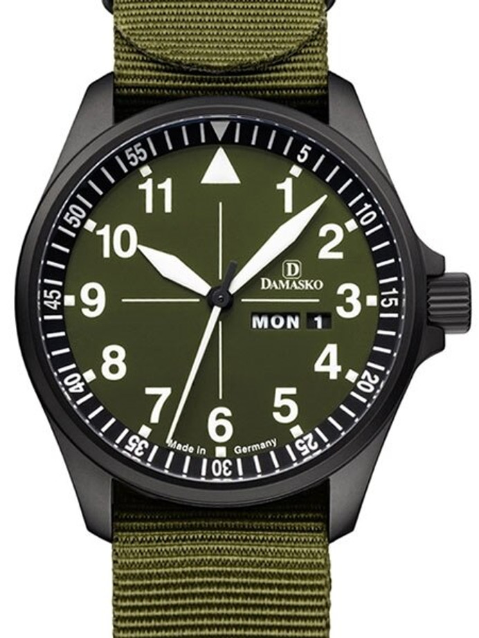 Damasko Swiss ETA Automatic with a 42mm Black Ion Case, Green Dial #DH3.0Black