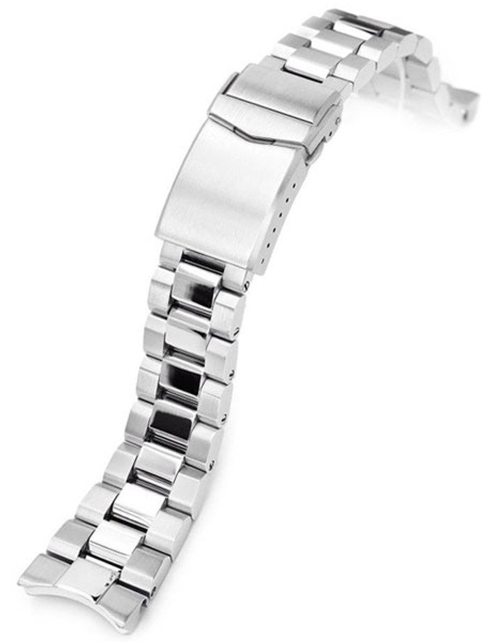 "Strapcode 22mm Hexad-O ""Boyer"" 316L SS Bracelet with Polished Center Links for New Seiko Samurai #SS221820BPS066"