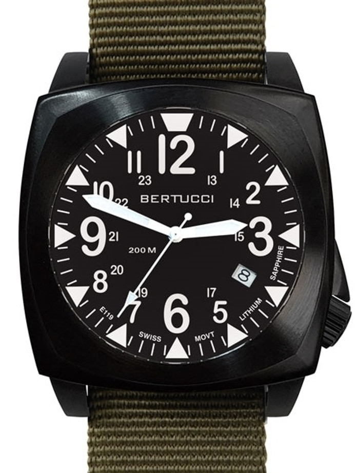 Bertucci E-1S Ballista 44mm Black Ion Field Watch with a Dome Sapphire Crystal #13601