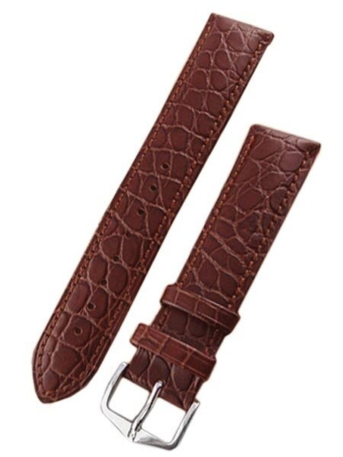 Hirsch Aristocrat Brown Crocodile Embossed Leather Watch Strap #038280-10