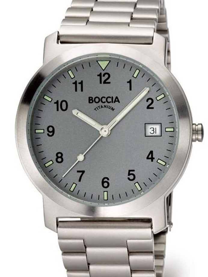 Boccia Thin Mens Quartz Watch with 37mm Titanium Case and Titanium Bracelet #3545-02