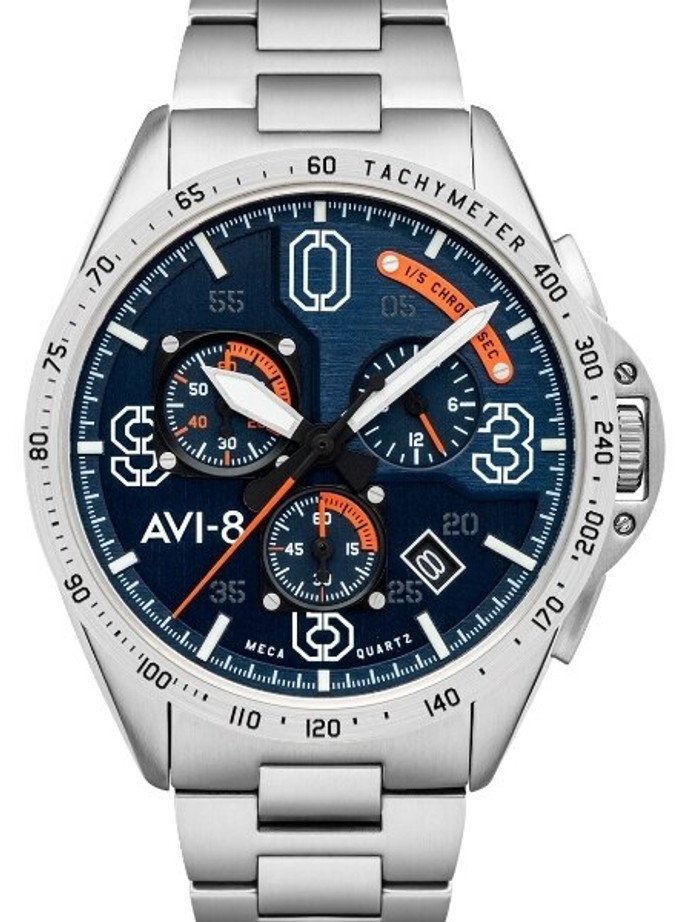 AVI-8 Silver Oak Blakeslee Pilot Chronograph Watch #AV-4077-22