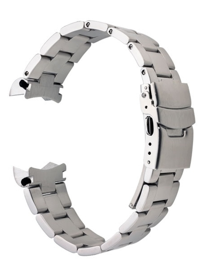 Islander 20mm Brushed Solid-Link Watch Bracelet for SRPE Seiko 5 Watches Curved End #BRAC-09
