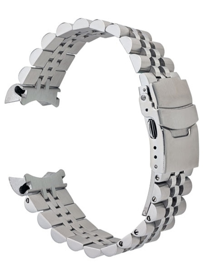Islander 20mm Brushed and Polished Solid-Link Watch Bracelet for Seiko 5 SRPE Watches, Curved End #BRAC-10