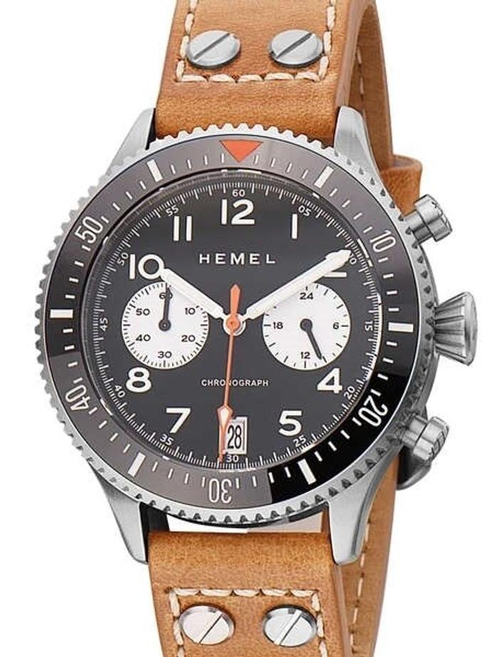 HEMEL Panda Date, Meca-Quartz Chronograph Watch with 60-Minute Ceramic Bezel and Sapphire Crystal #HF12