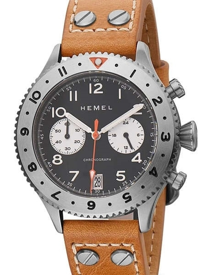 HEMEL Panda Date, 24 Meca-Quartz Chronograph Watch with GMT Bezel and Sapphire Crystal #HF13