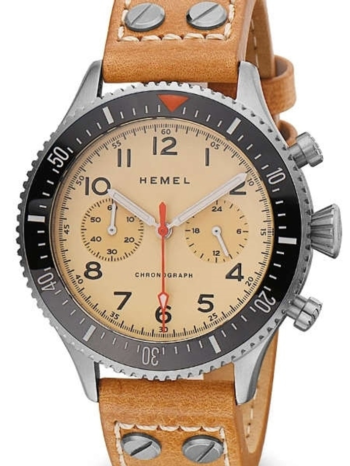 HEMEL Meca-Quartz Chronograph Watch with 60-Minute Ceramic Bezel and Sapphire Crystal #HF31V