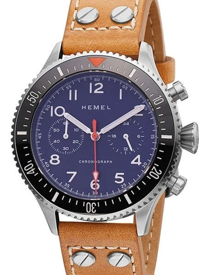 HEMEL Meca-Quartz Chronograph Watch with 60-Minute Ceramic Bezel and Sapphire Crystal #HF3NA